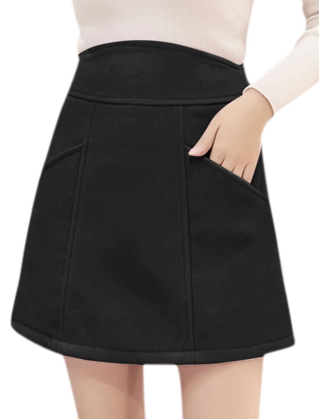 Women High Waist Pockets Front Worsted A Line Skirt Black M