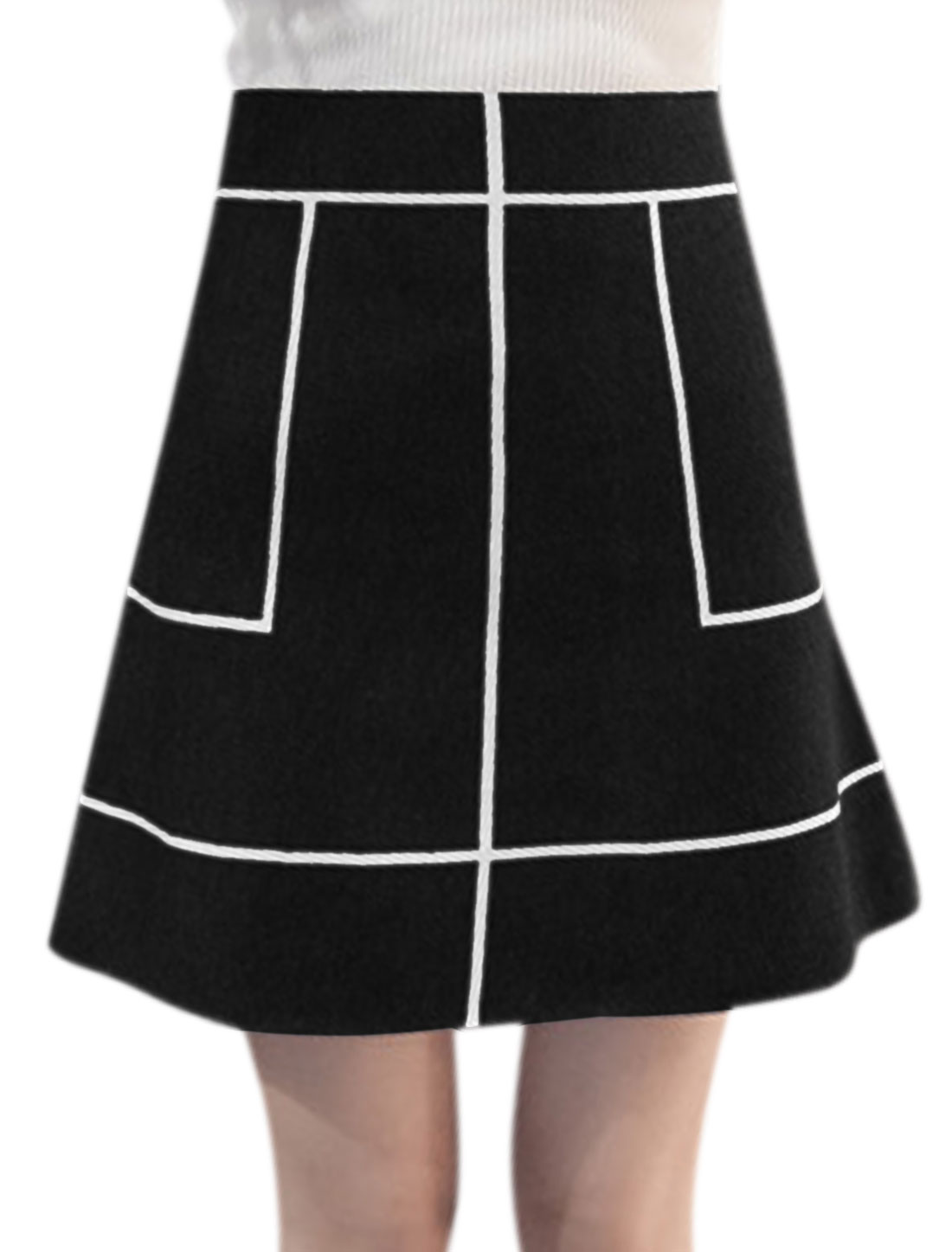 Women High Waist Contrast Color A Line Above Knee Knitted Skirt Black XS