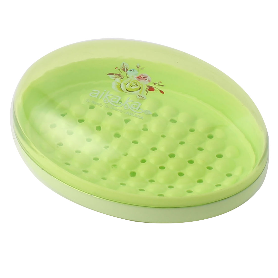 Household Bathroom Plastic Oval Shower Soap Holder Draining Box Dish Container Green