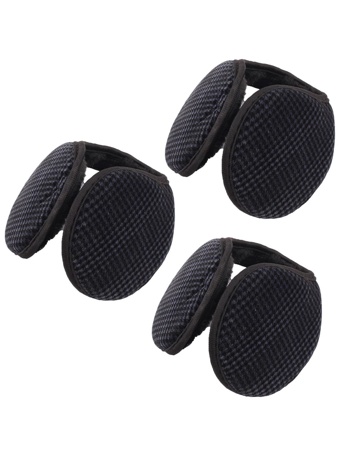 Man Metal Frame Plush Winter Headwear Ear Warmer Protector Earmuffs Black 3 Pcs