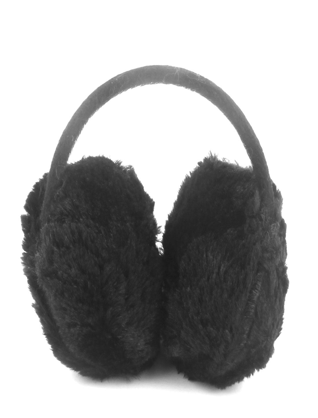 Outdoor Winter Metal Frame Plush Headwear Ear Protector Warmer Earmuff Earflap Black