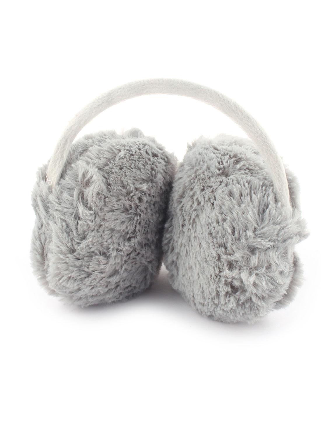Outdoor Winter Metal Frame Plush Headwear Ear Protector Warmer Earmuff Earflap Gray