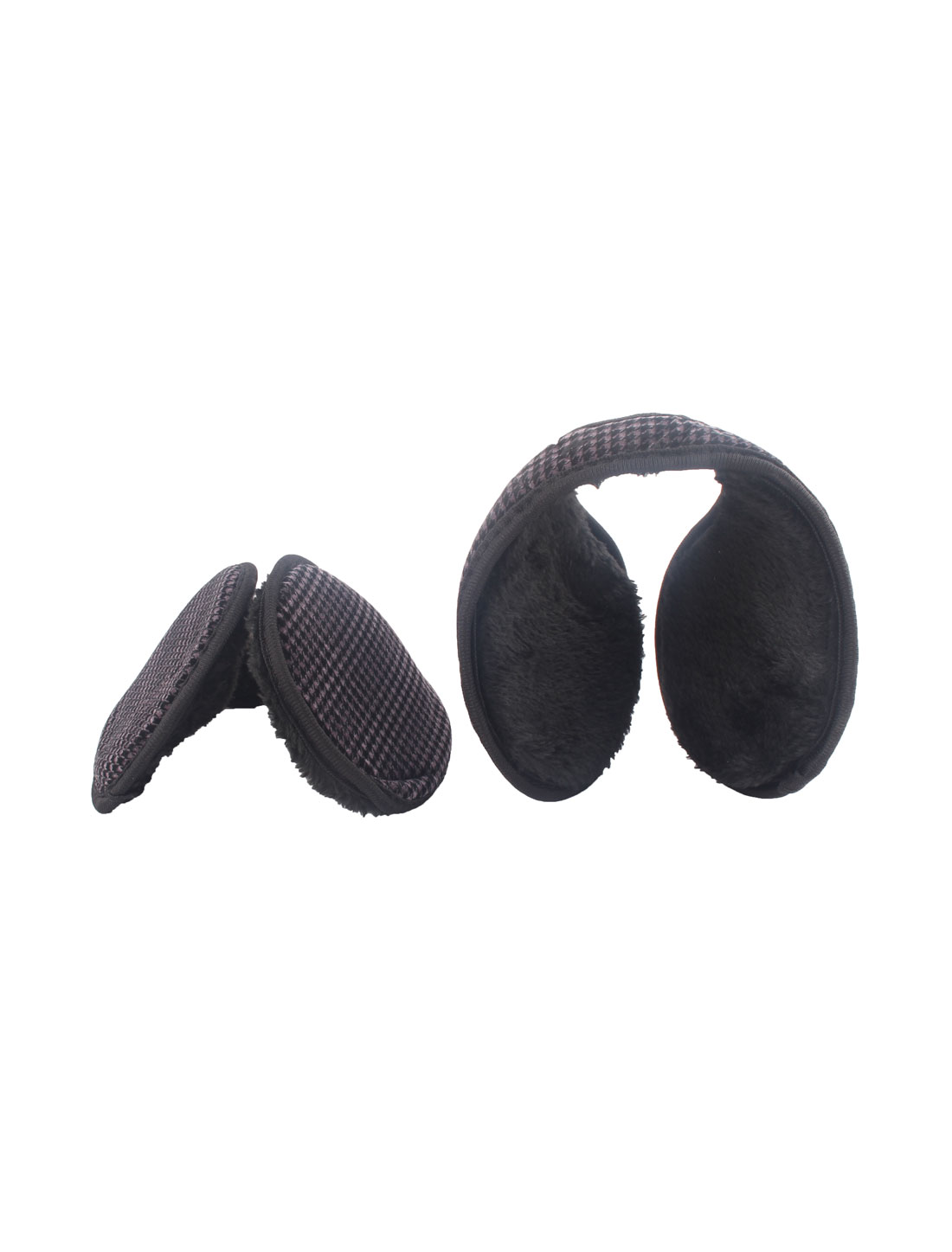 Climbing Riding Winter Fleece Grid Pattern Headwear Ear Protection Earmuff 2pcs