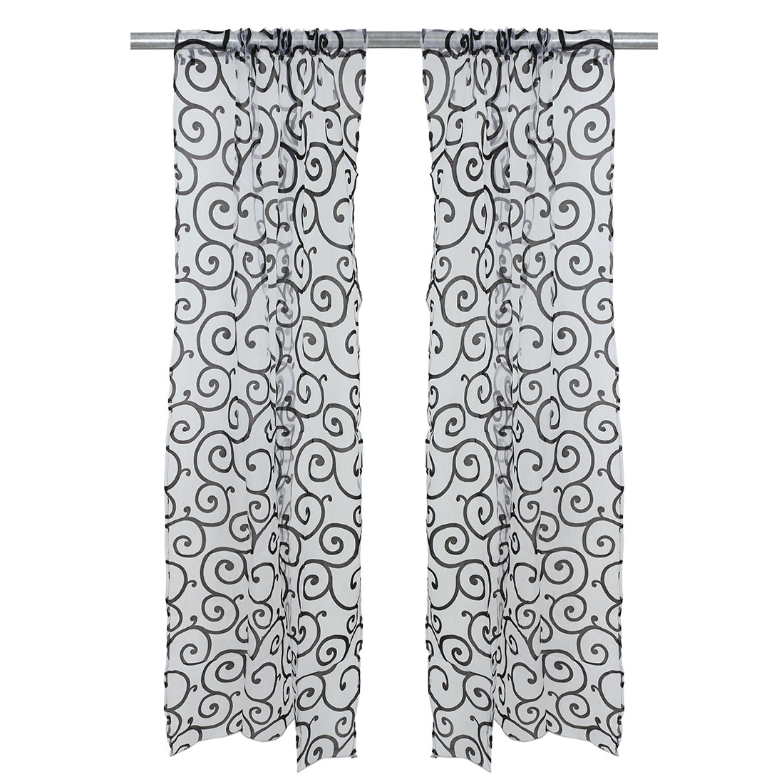 Piccocasa Home Voile Flocking Floral Print Window Sheer Tulle Curtain Black 100 x 200cm
