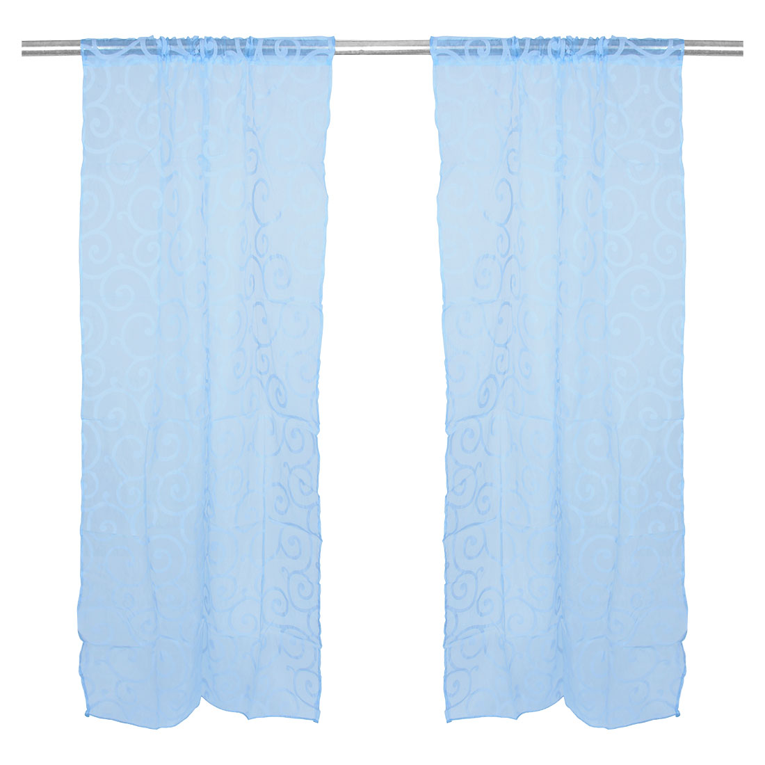 Sweet Floral Tulle Voile Curtains Solid Drape Sheer Door Sky Blue 100 x 200cm