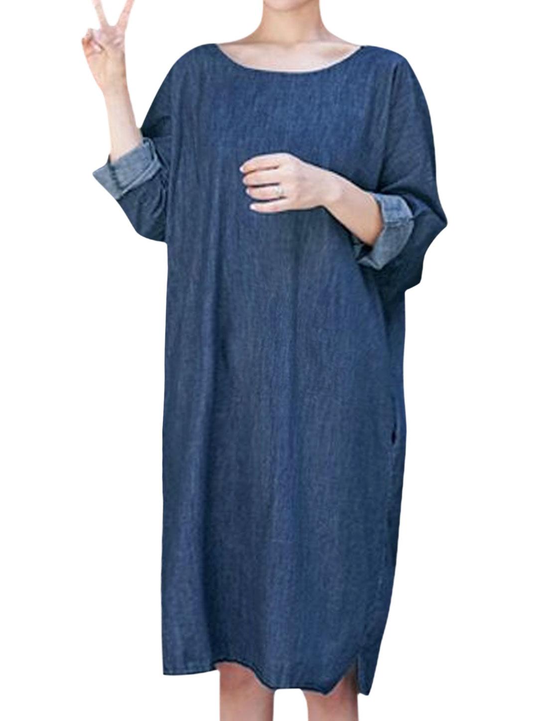 Women Batwing Sleeve Button Closure Back Loose Denim Dress Blue S