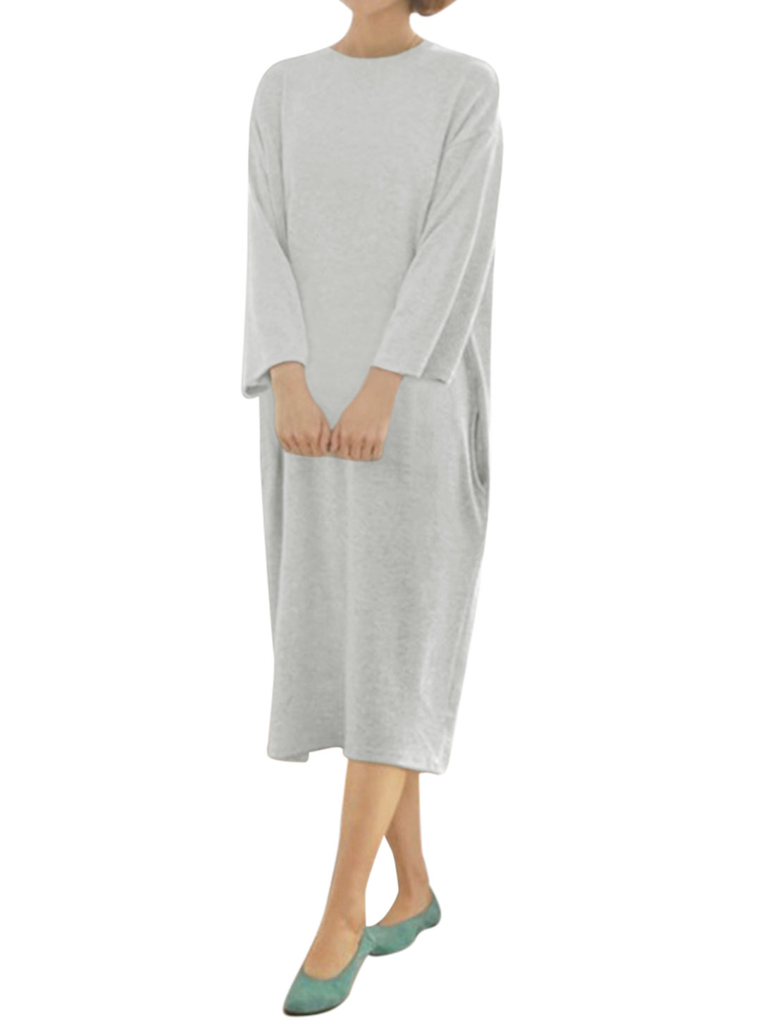 Women Round Neck Long Sleeves Two Pockets Loose Midi Dress Light Gray M