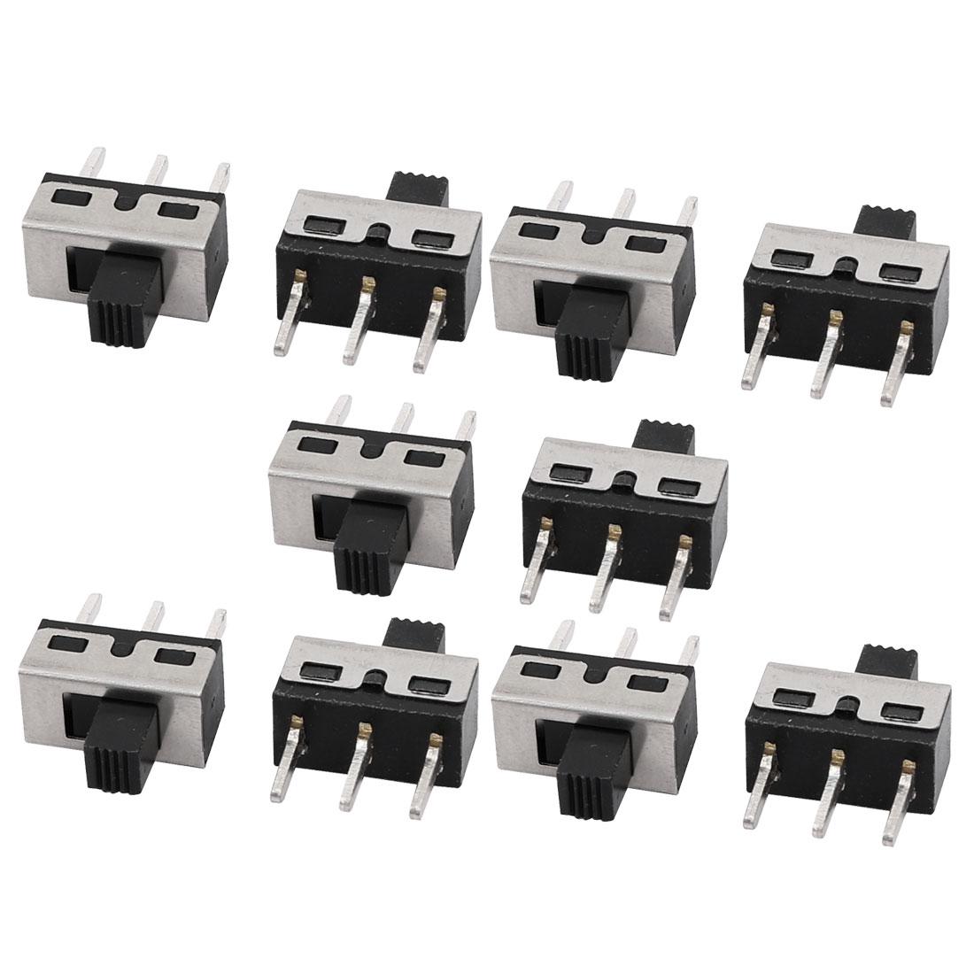10Pcs AC 125V 3A 2 Position SPDT 3 Terminal PCB Mounting Mini Slide Switch