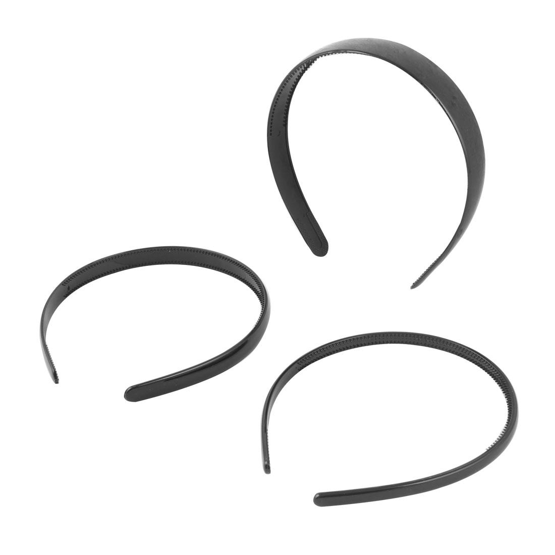 Girls Plastic Makeup Tool 2 Teeth Hair Band Hair Hoop Black 3 in 1