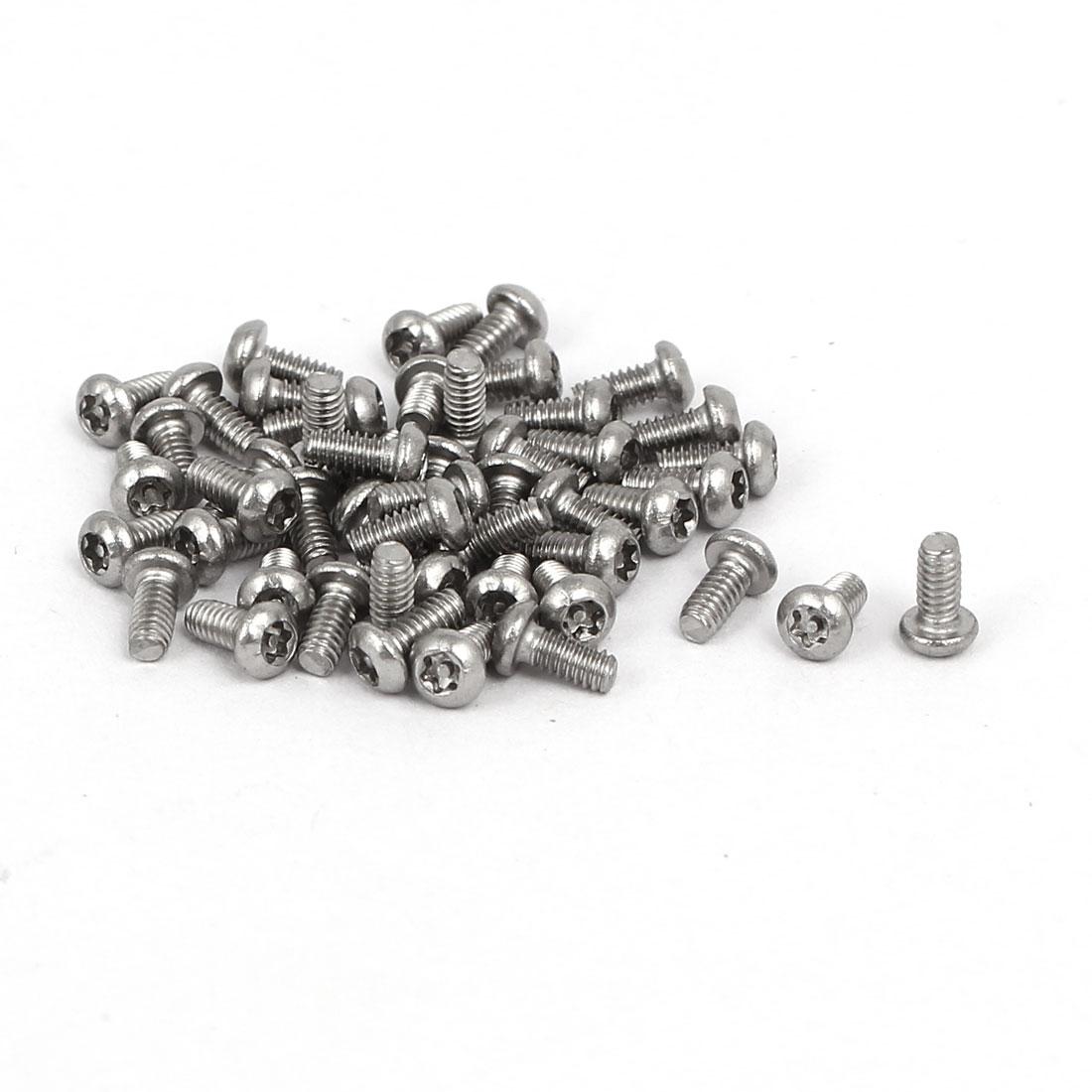 M2x4mm 304 Stainless Steel Button Head Torx Security Machine Screws 50pcs