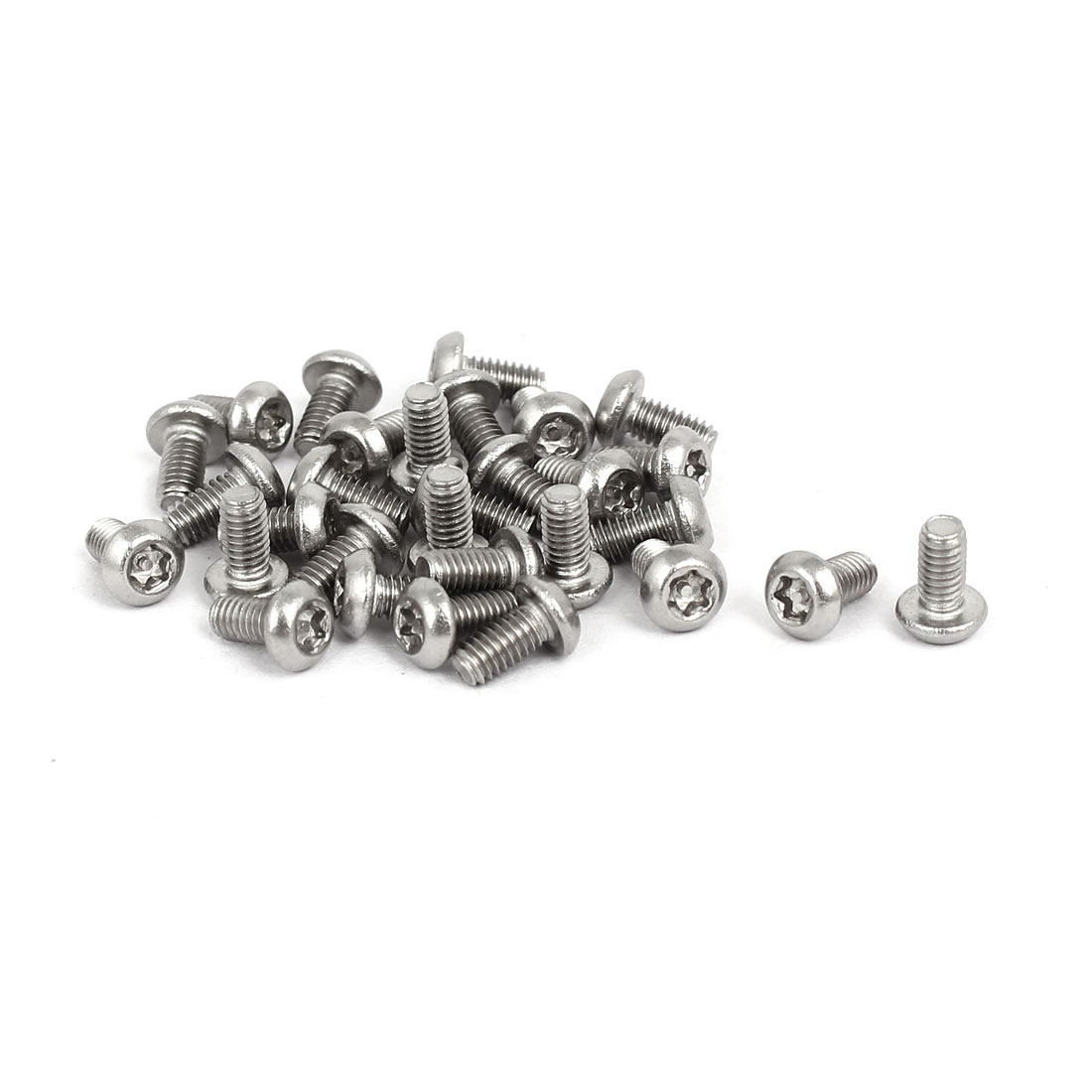 M2.5x5mm 304 Stainless Steel Button Head Torx Security Machine Screws 30pcs