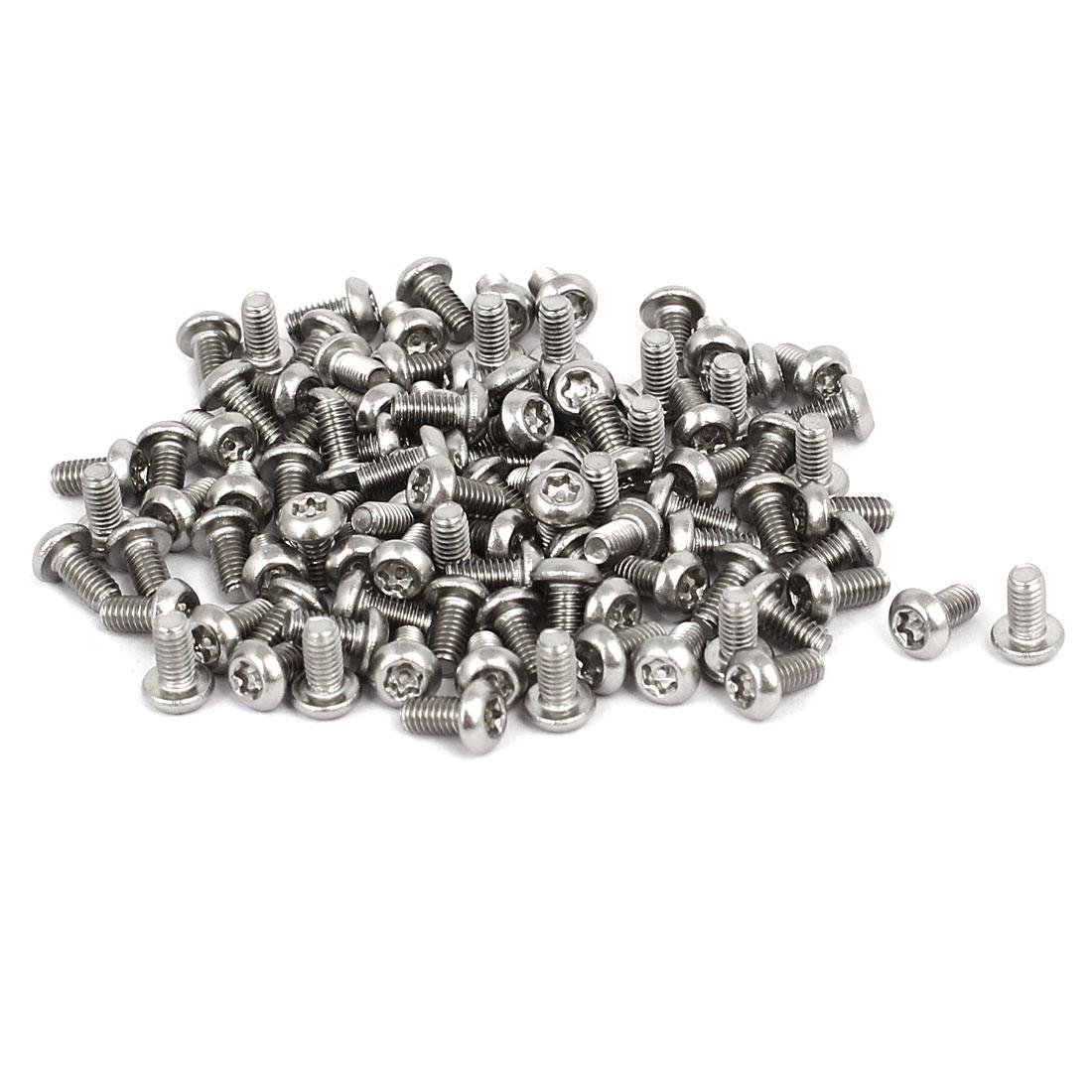M2.5x5mm 304 Stainless Steel Button Head Torx Security Machine Screws 100pcs