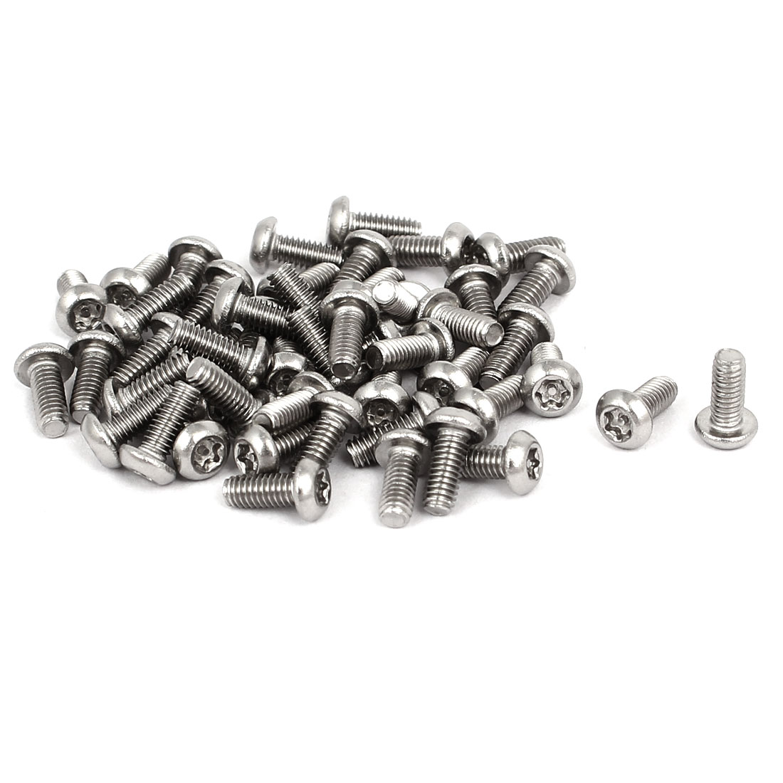 M2.5x6mm 304 Stainless Steel Button Head Torx Security Machine Screws 50pcs