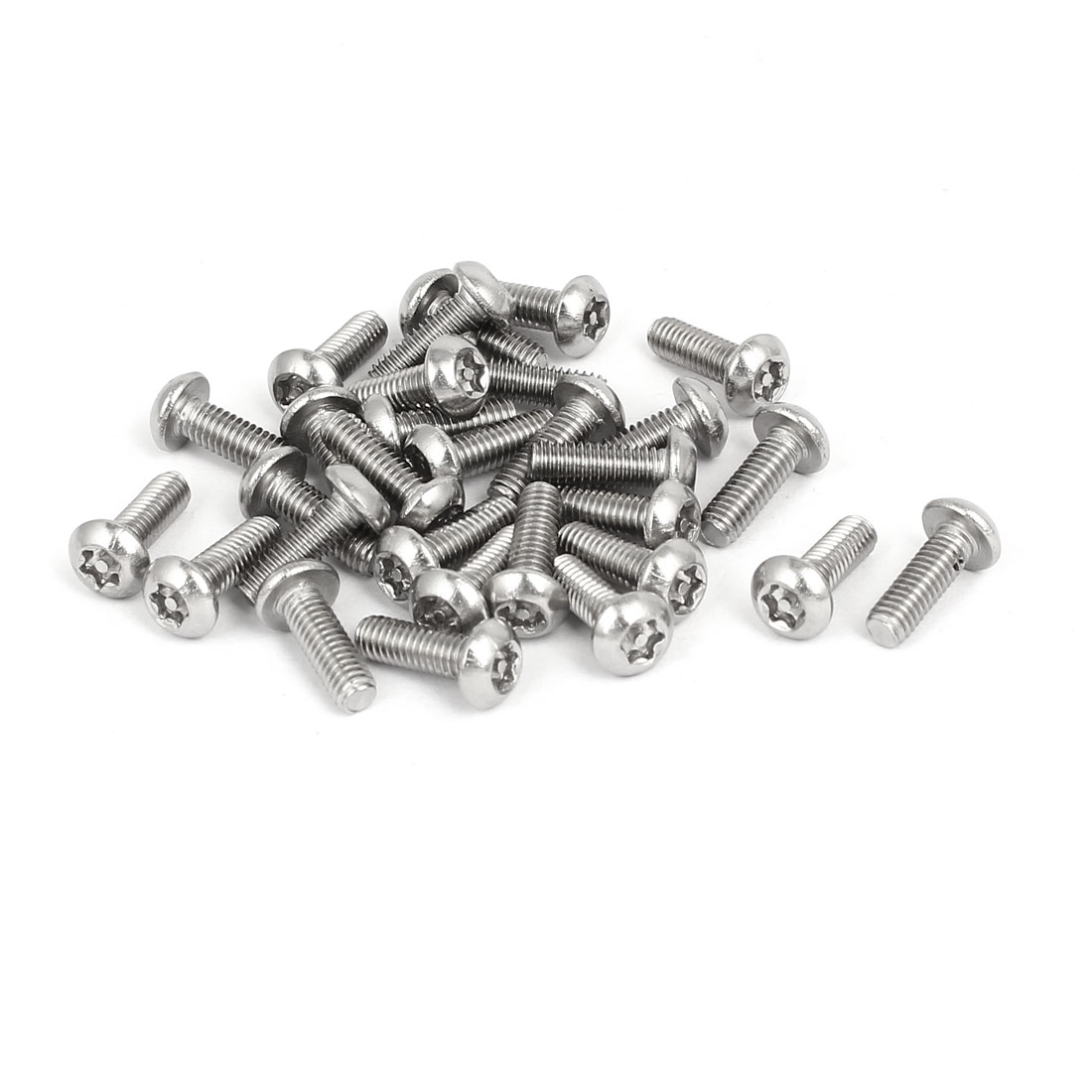 M4x12mm 304 Stainless Steel Button Head Torx Tamper Resistant Screws 30pcs
