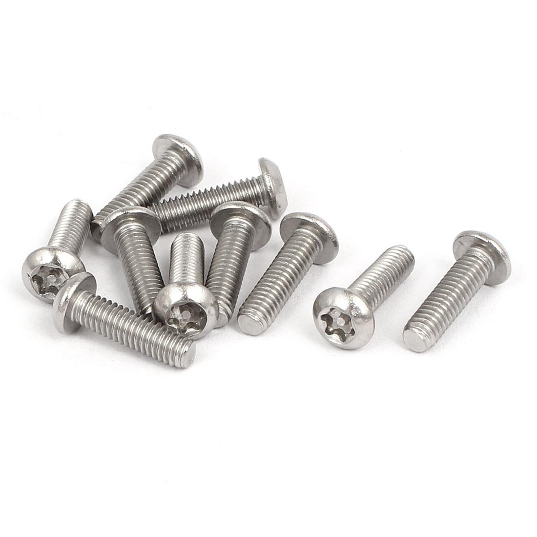 M4x14mm 304 Stainless Steel Button Head Torx Tamper Resistant Screws 10pcs