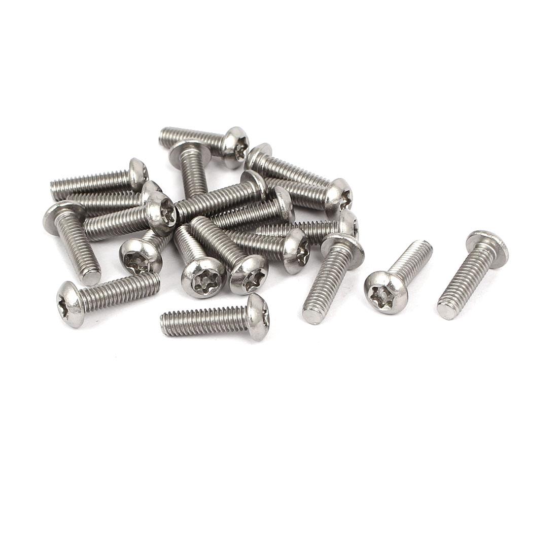 M4x14mm 304 Stainless Steel Button Head Torx Tamper Resistant Screws 20pcs