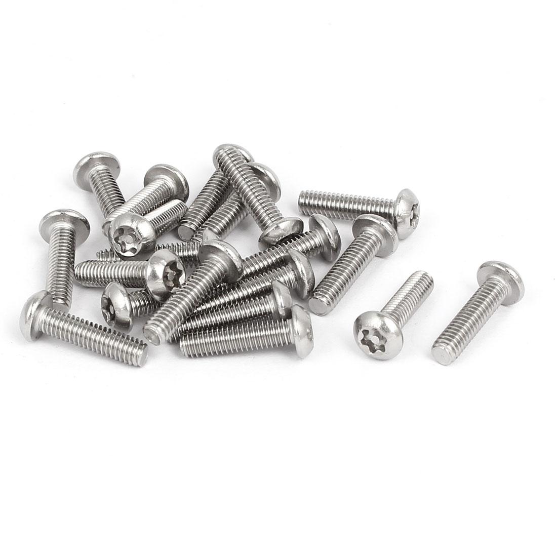 M4x16mm 304 Stainless Steel Button Head Torx Tamper Resistant Screws 20pcs