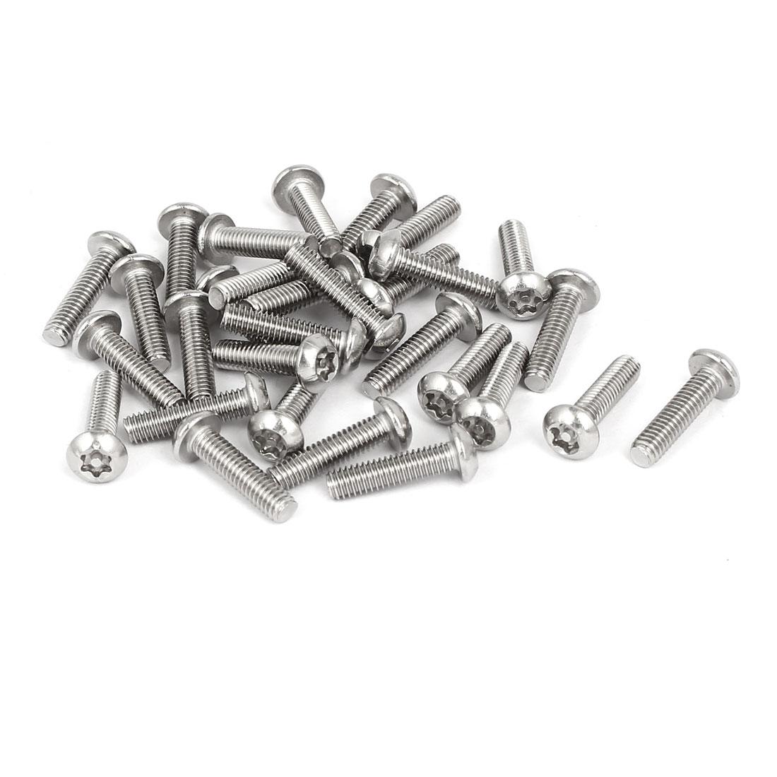M4x16mm 304 Stainless Steel Button Head Torx Tamper Resistant Screws 30pcs