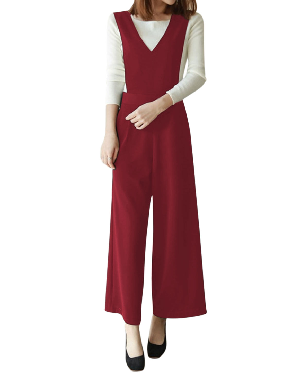 Women High Waist Inverted Front Wide Leg Suspender Pants Red S