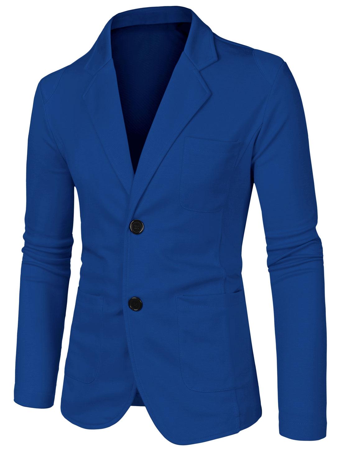 Men Notched Lapel Solid Color Long Sleeve Knit Blazer Blue 38