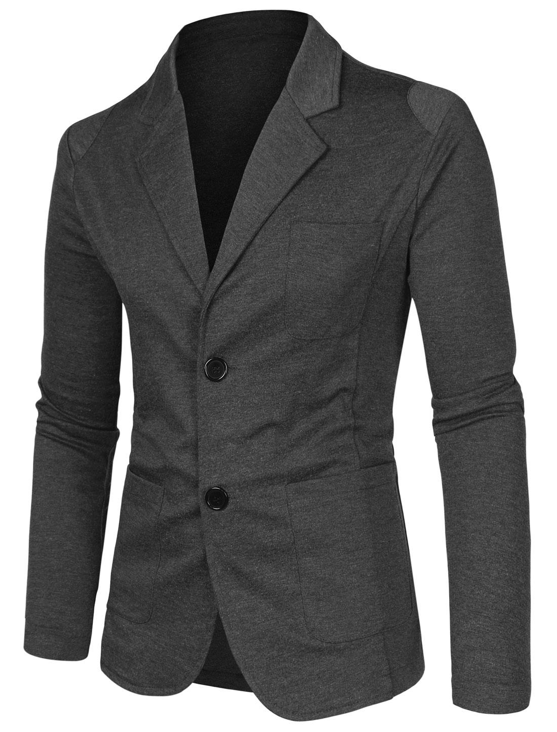 Men Notched Lapel Solid Color Long Sleeve Knit Blazer Dark Gray 36