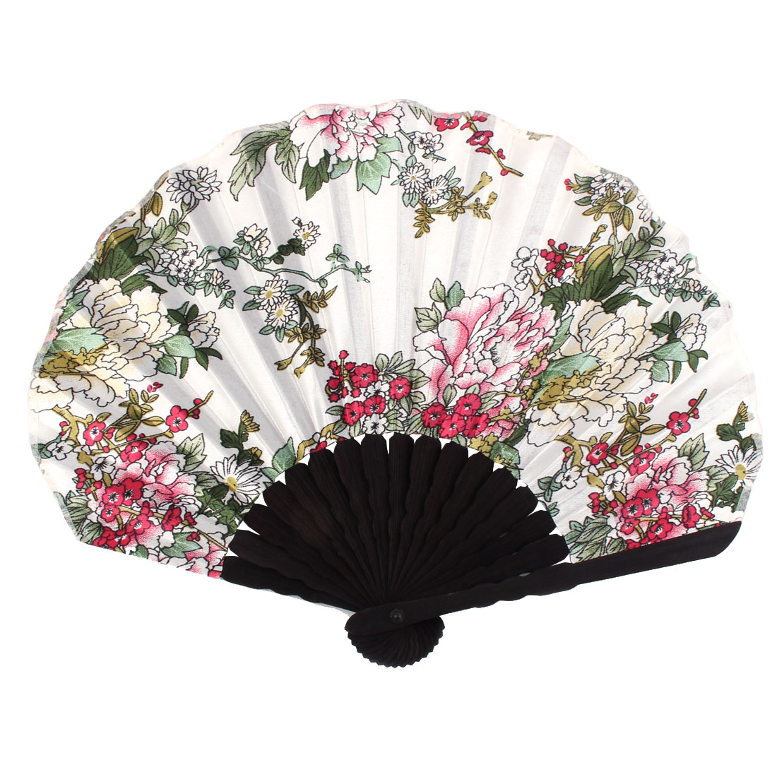Ladies Summer Peony Prints Hand-held Folding Dancing Hand Fan Craft Colorful