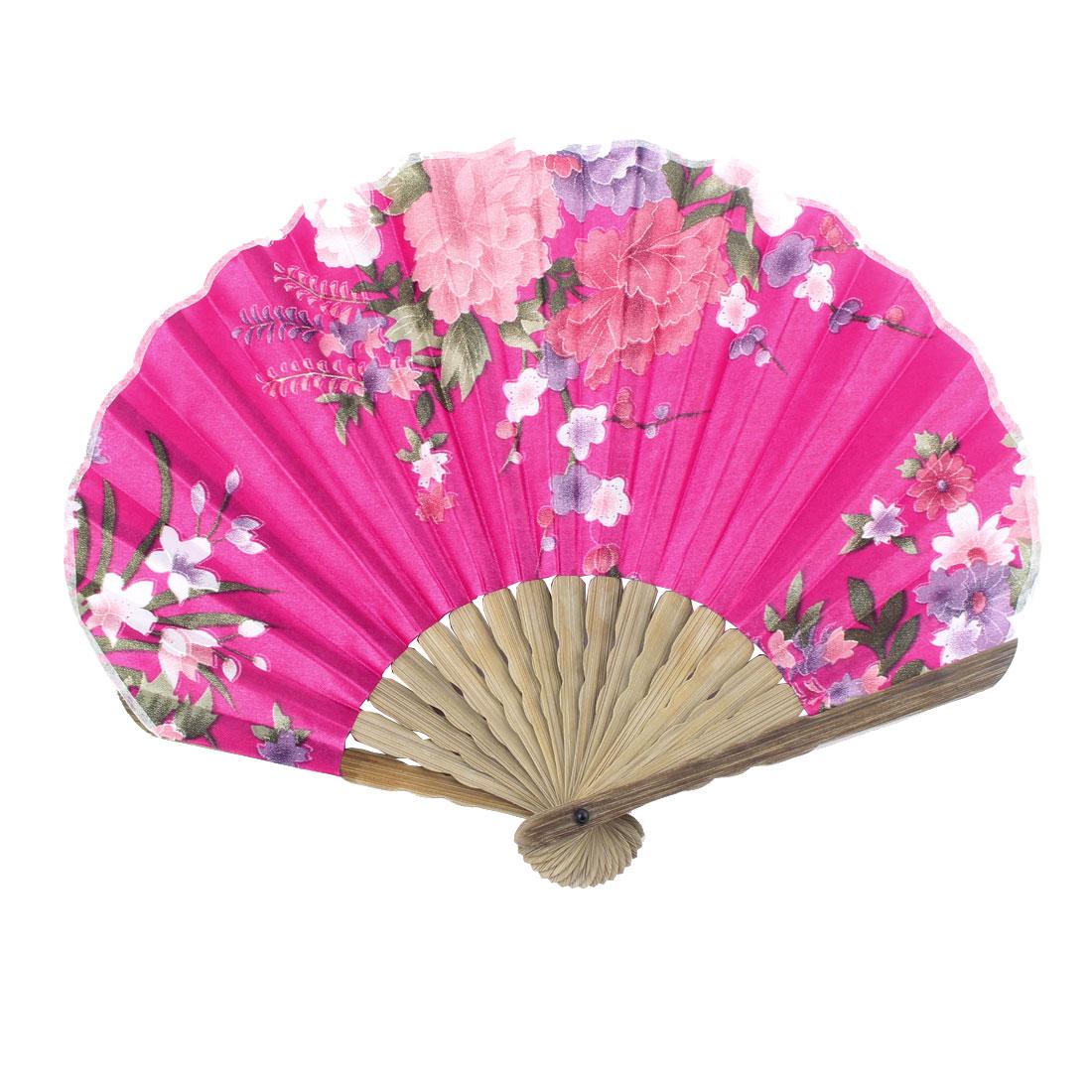 Ladies Summer Peony Flower Prints Hand-held Folding Dancing Hand Fan Colorful
