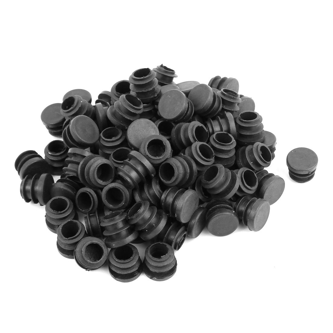Round Chair Leg Pipe Tube Insert Blanking Cover Black 16mm Dia 100pcs