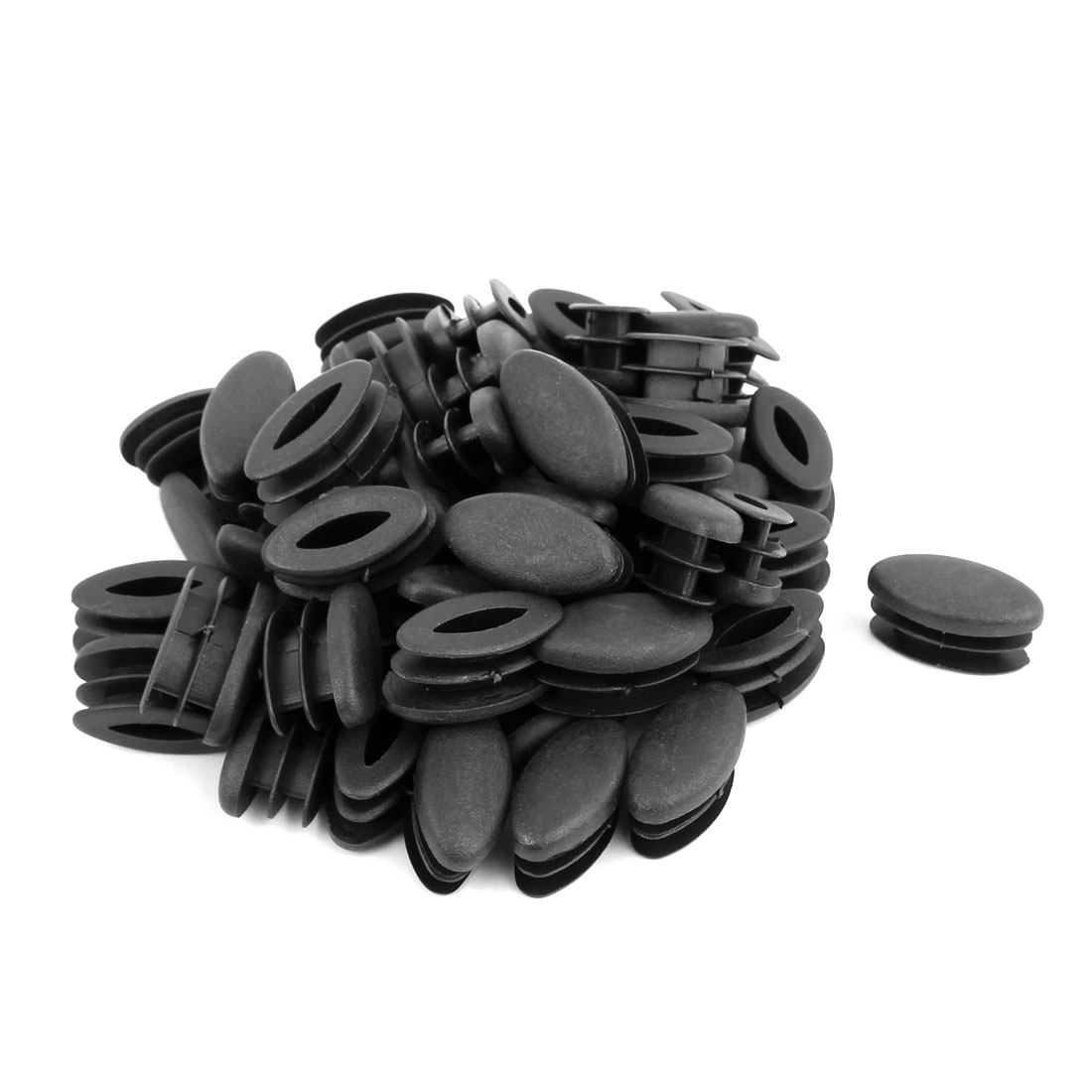 Home Office Plastic Oval Shaped Table Chair Leg Feet Tube Inserts Black 50pcs