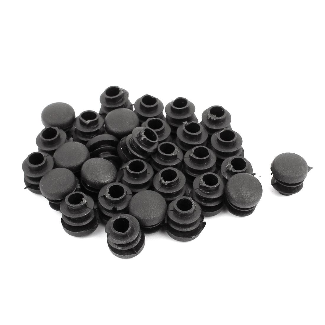 Plastic Round Ribbed Tube Inserts End Blanking Caps Black 14mm Diameter 30pcs
