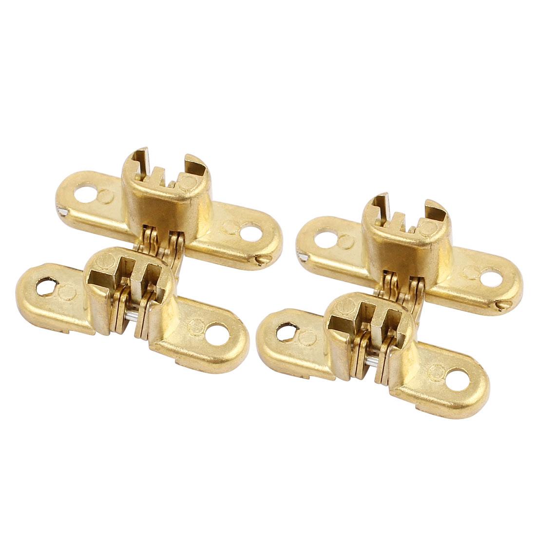 Cabinet Cupboard Sliding Door Folding Zinc Alloy Cross Hinge Gold Tone 2pcs