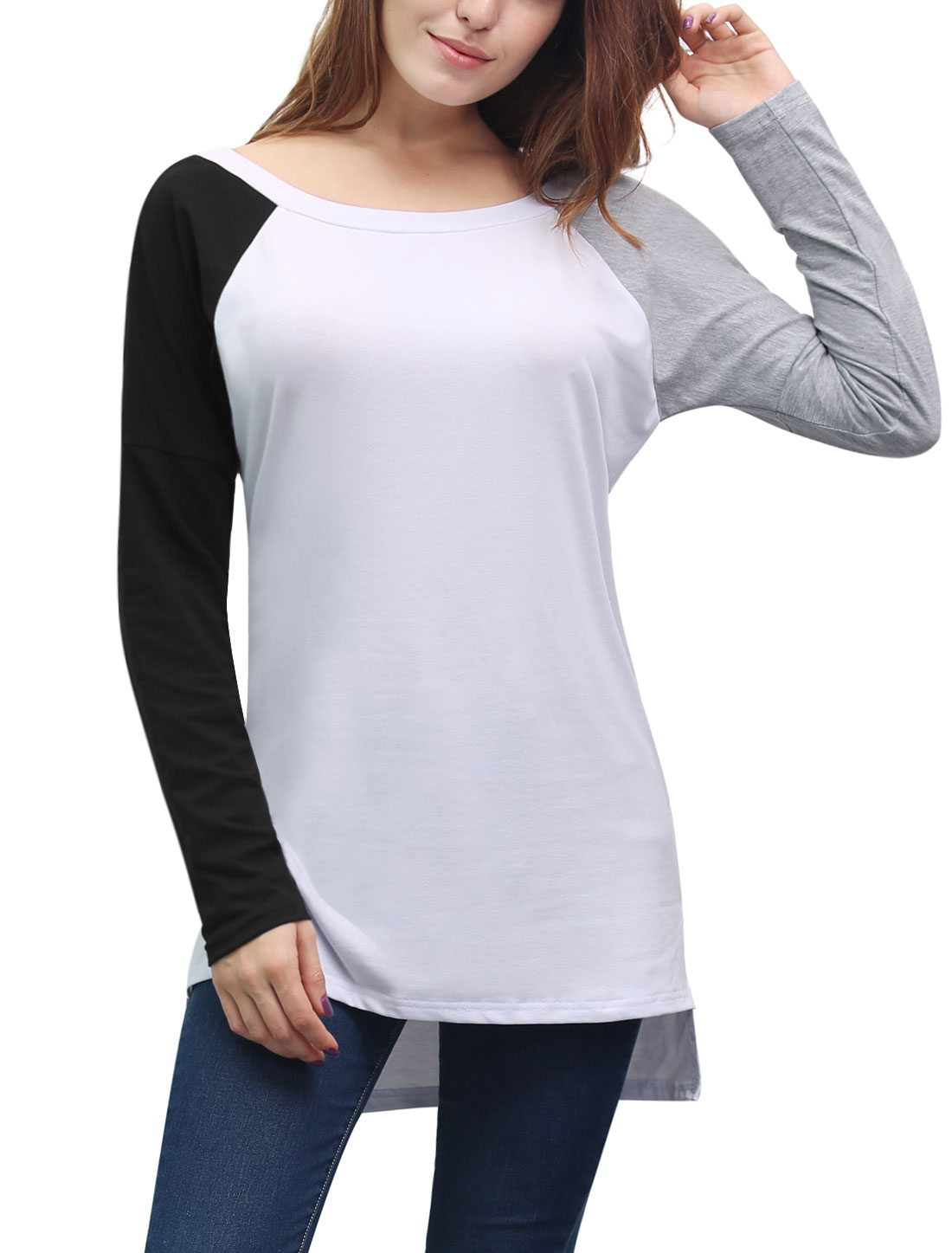 Women Boat Neck Color Block High Low Hem Tunic Top White L
