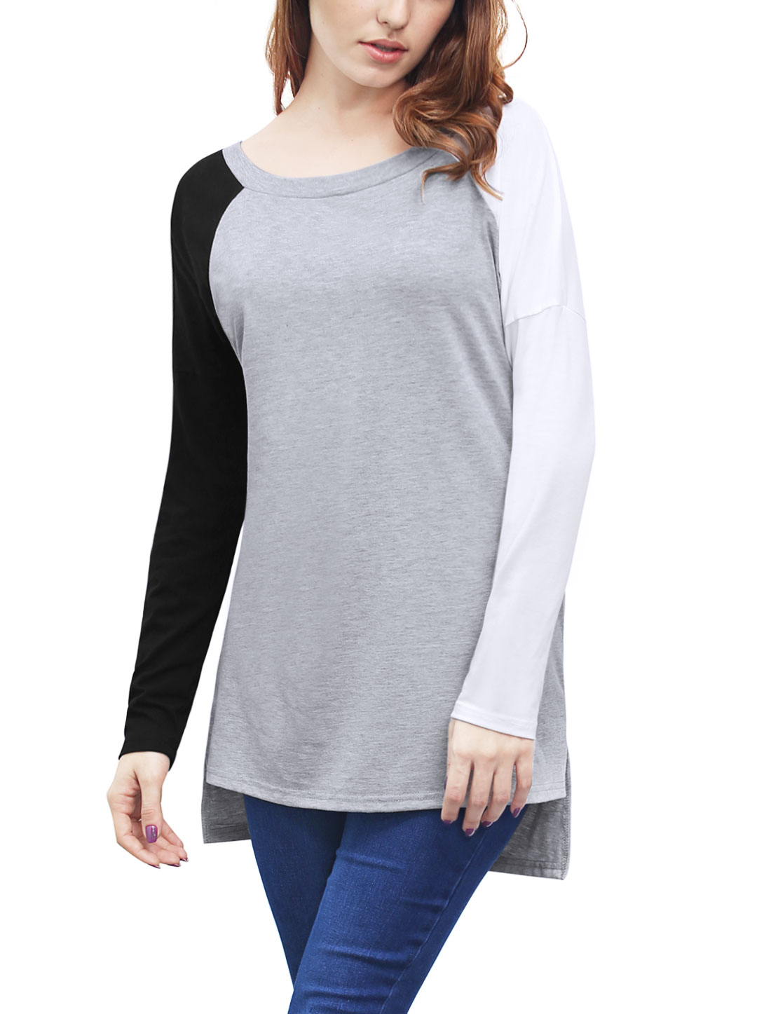 Women Boat Neck Color Block High Low Hem Tunic Top Gray L