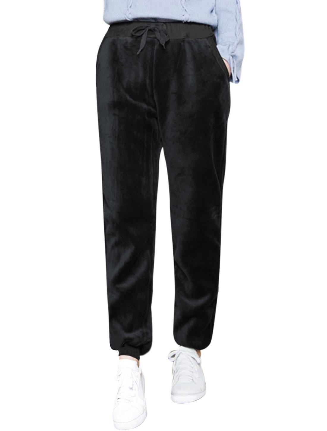 Women Side Pockets Drawstring Waist Velvet Jogger Pants Black XS
