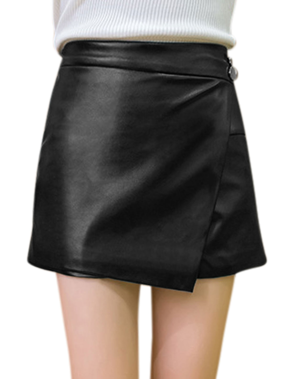 Women High Waist Button Decor Layered Design A Line PU Skort Black M