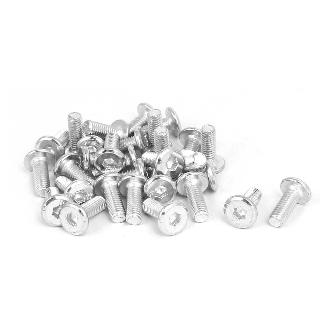 M6x15mm Metal White Zinc Plated Hex Socket Head Furniture Bolts Fastener 30pcs