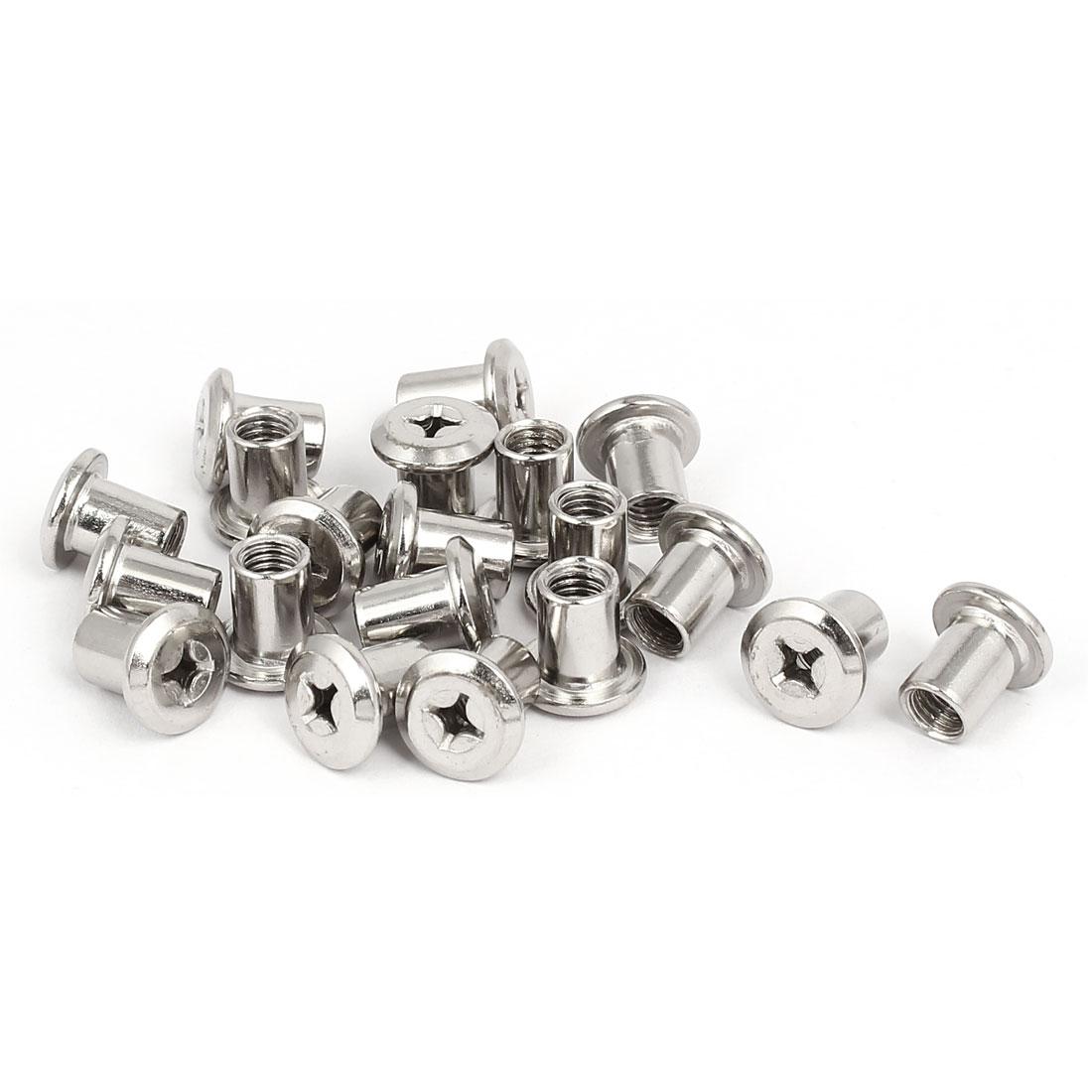 M6x10mm Metal Phillips Head Nuts Furniture Hardware Fittings 20pcs