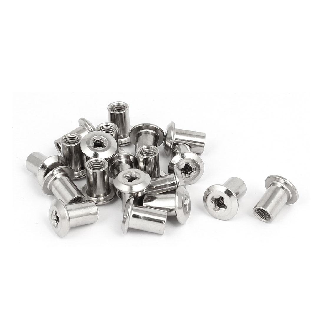M6x12mm Metal Phillips Head Barrel Nuts Furniture Hardware Fittings 20pcs