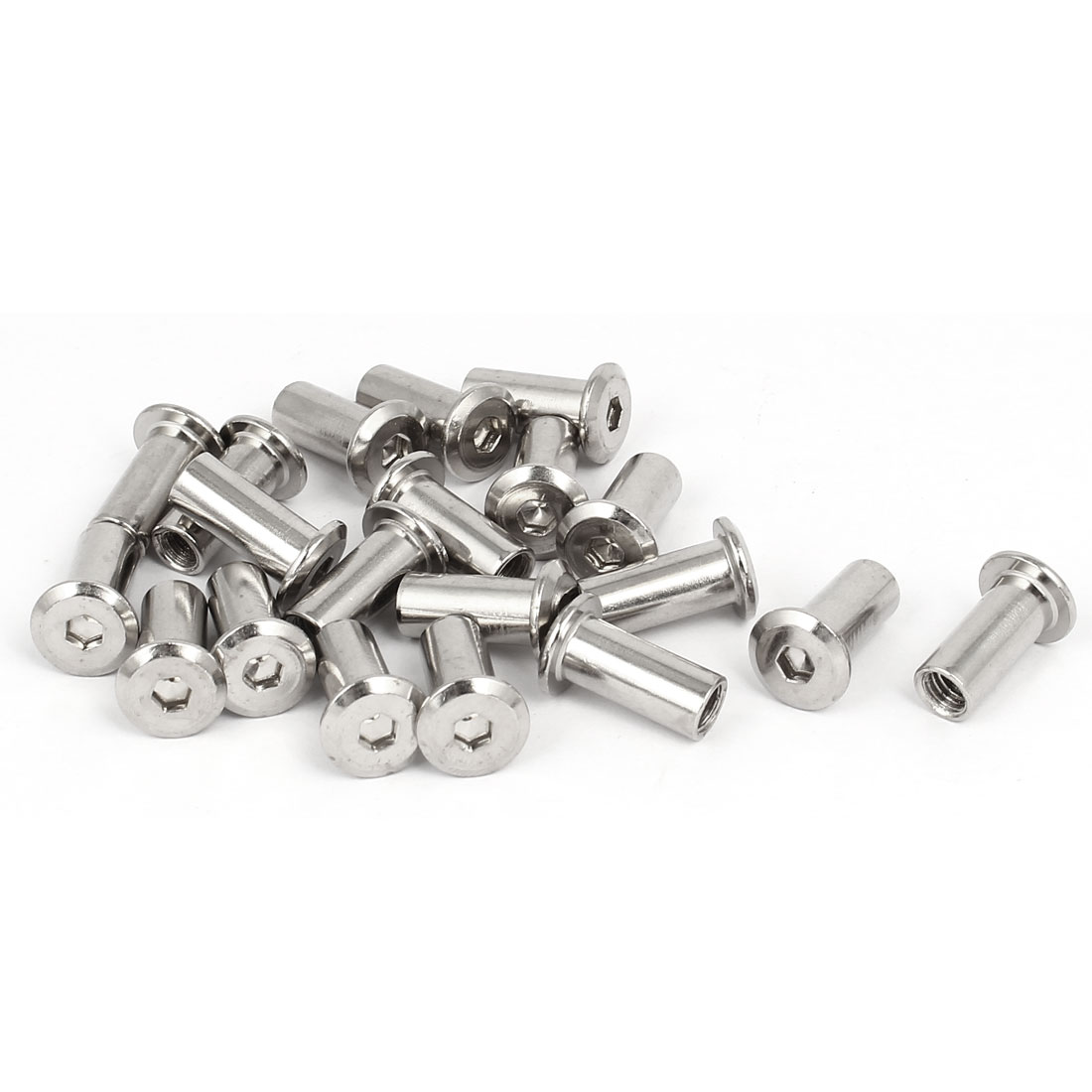 M6x18mm Metal Hexagon Hex Socket Head Barrel Nuts Furniture Fittings 20pcs