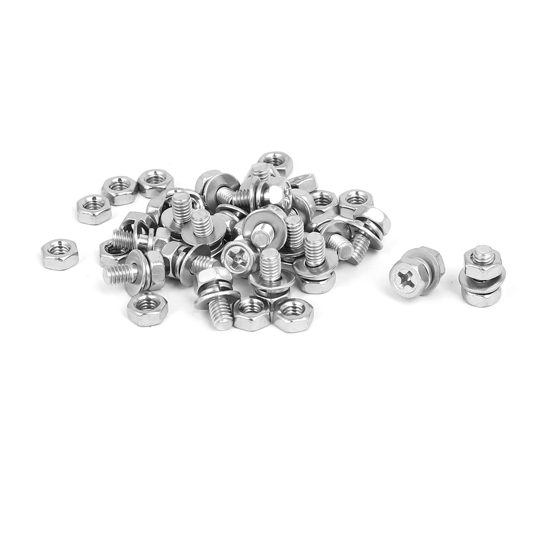 M4 x 8mm 304 Stainless Steel Phillips Hex Head Bolts Nuts w Washers 20 Sets