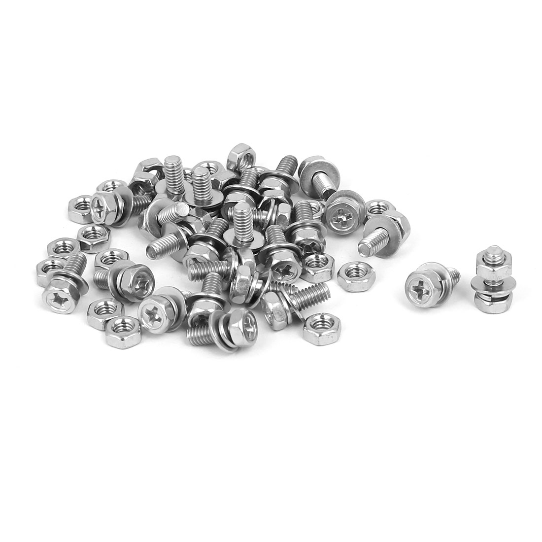 M4 x 10mm 304 Stainless Steel Phillips Hex Head Bolts Nuts w Washers 25 Sets