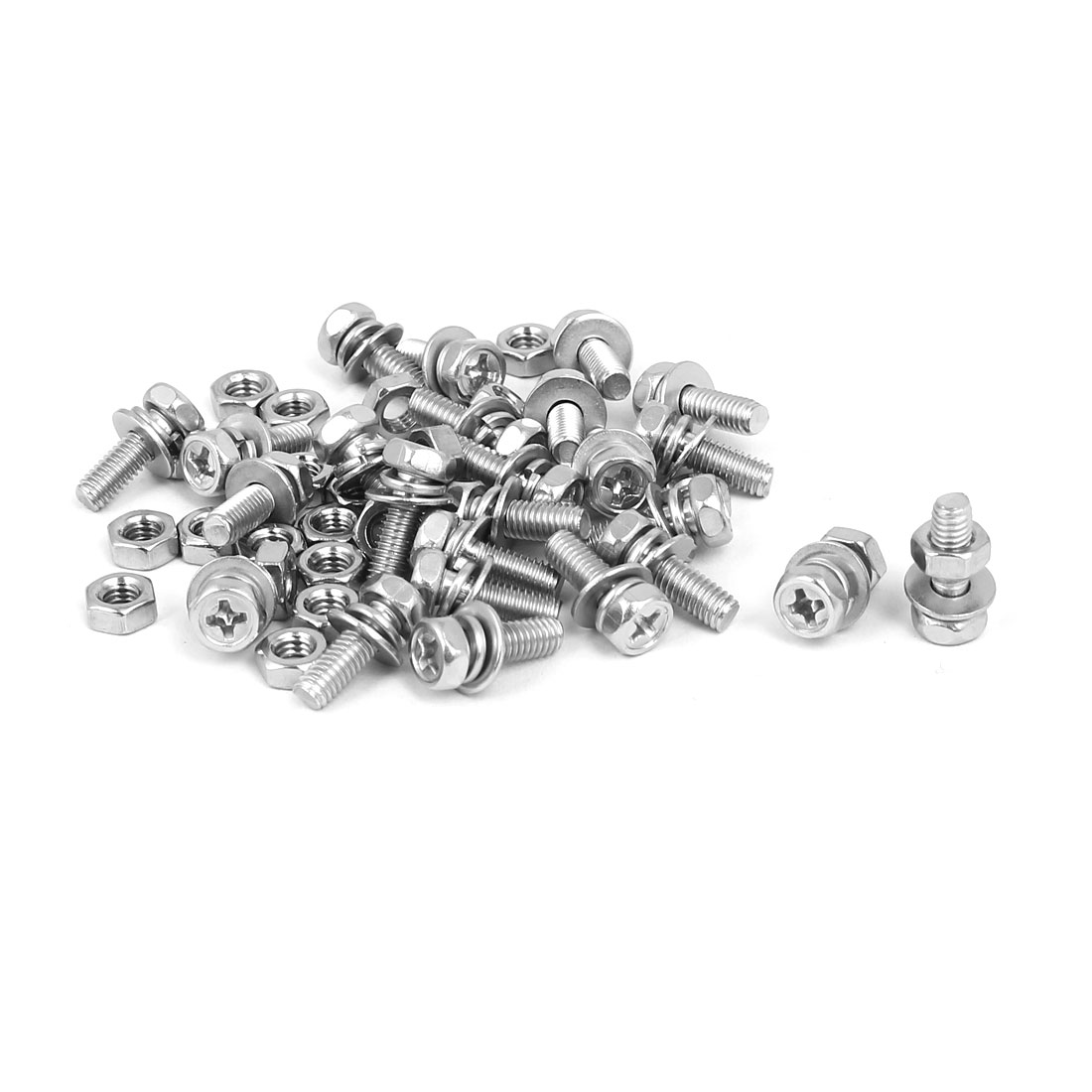 M4 x 12mm 304 Stainless Steel Phillips Hex Head Bolts Nuts w Washers 25 Sets