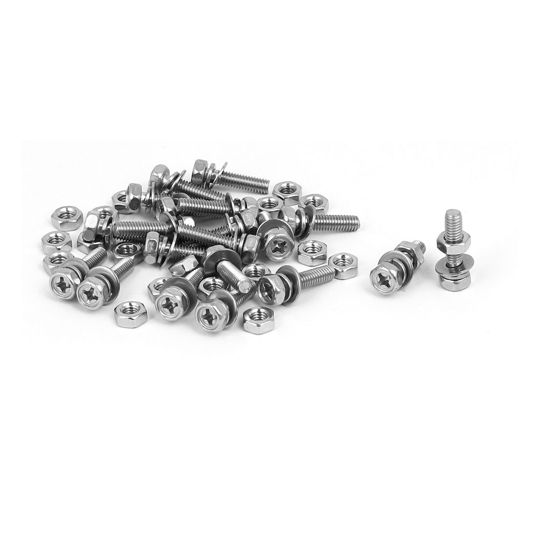 M4 x 16mm 304 Stainless Steel Phillips Hex Head Bolts Nuts w Washers 20 Sets