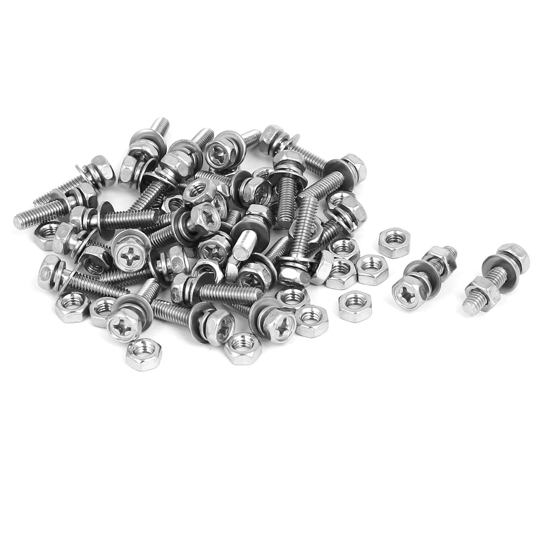 M4 x 16mm 304 Stainless Steel Phillips Hex Head Bolts Nuts w Washers 30 Sets
