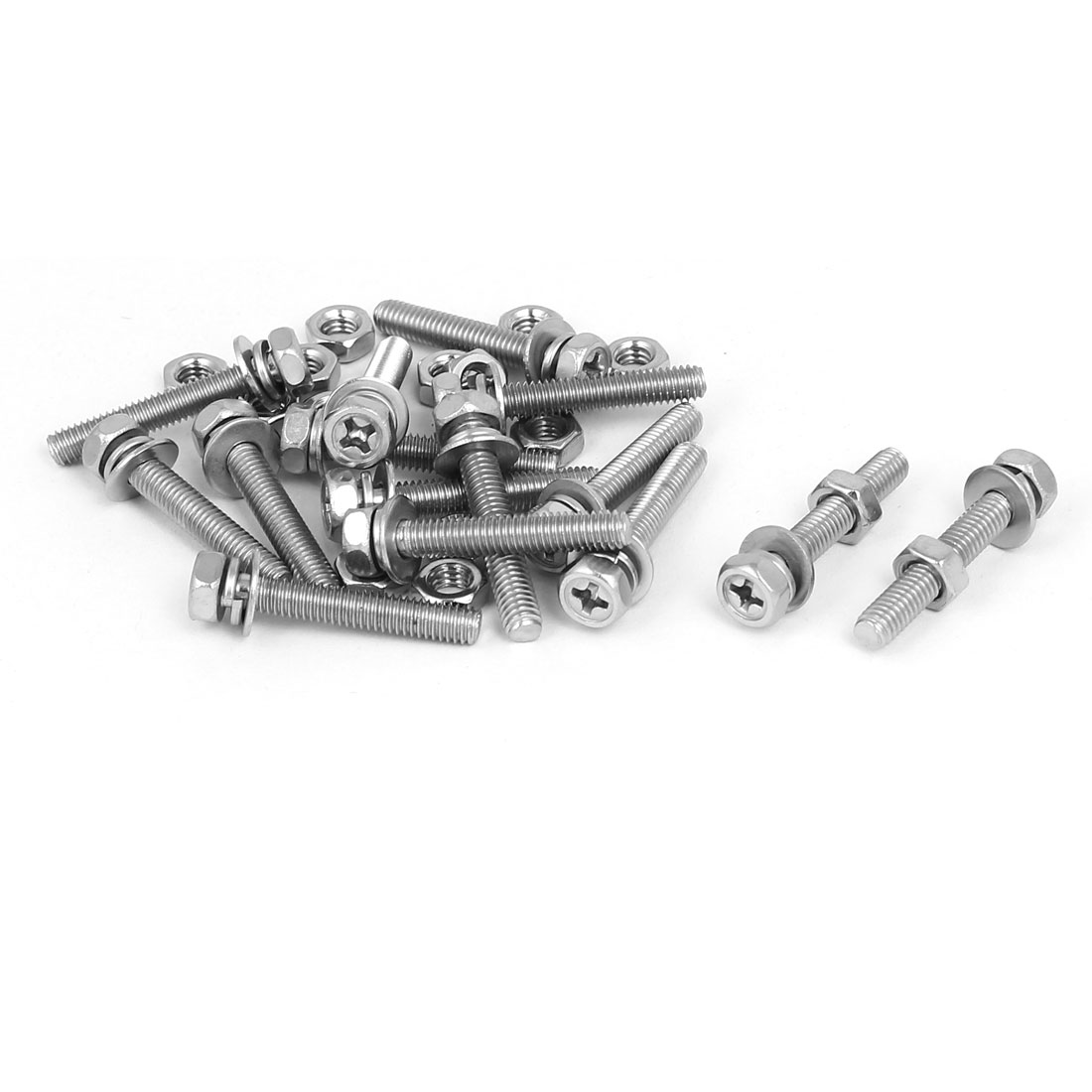 M4 x 25mm 304 Stainless Steel Phillips Hex Head Bolts Nuts w Washers 15 Sets