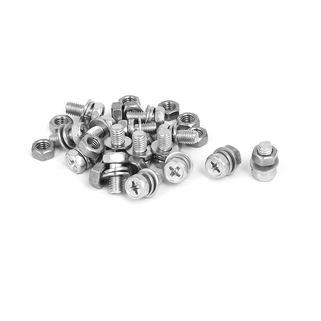 M5 x 10mm 304 Stainless Steel Phillips Hex Head Bolts Nuts w Washers 15 Sets