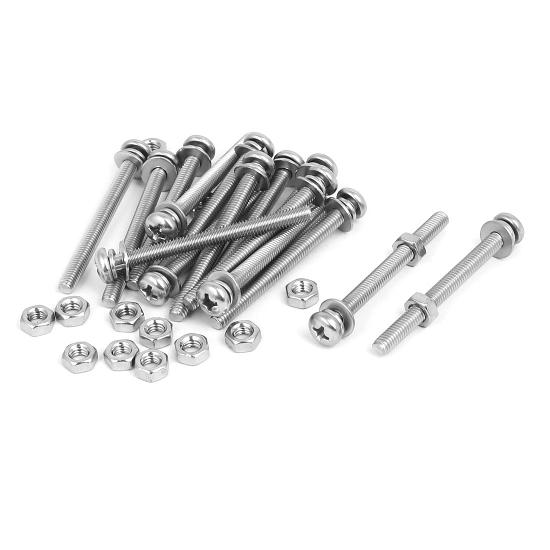 M4 x 45mm 304 Stainless Steel Phillips Pan Head Screws Nuts w Washers 15 Sets