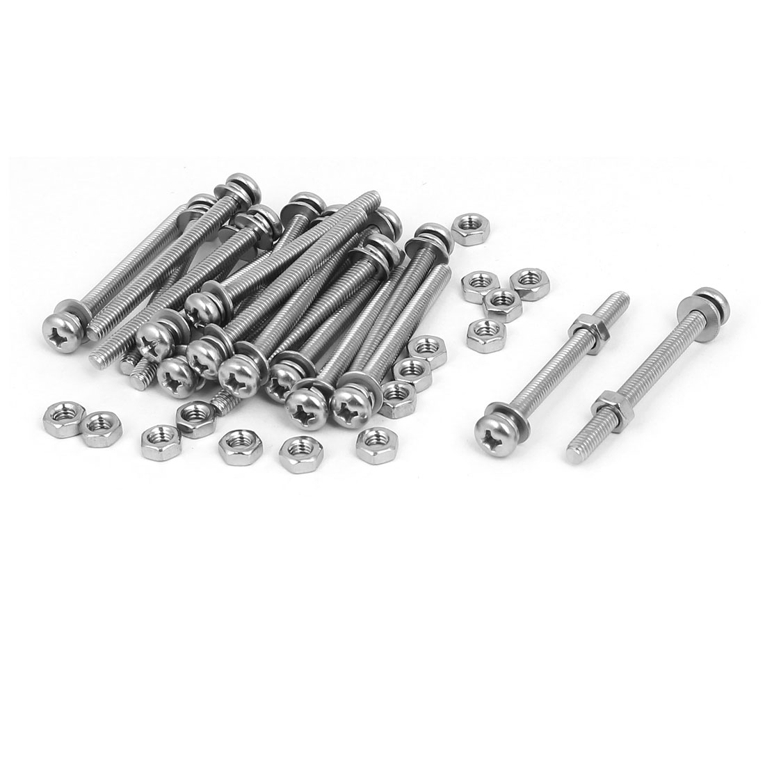 M4 x 45mm 304 Stainless Steel Phillips Pan Head Screws Nuts w Washers 20 Sets