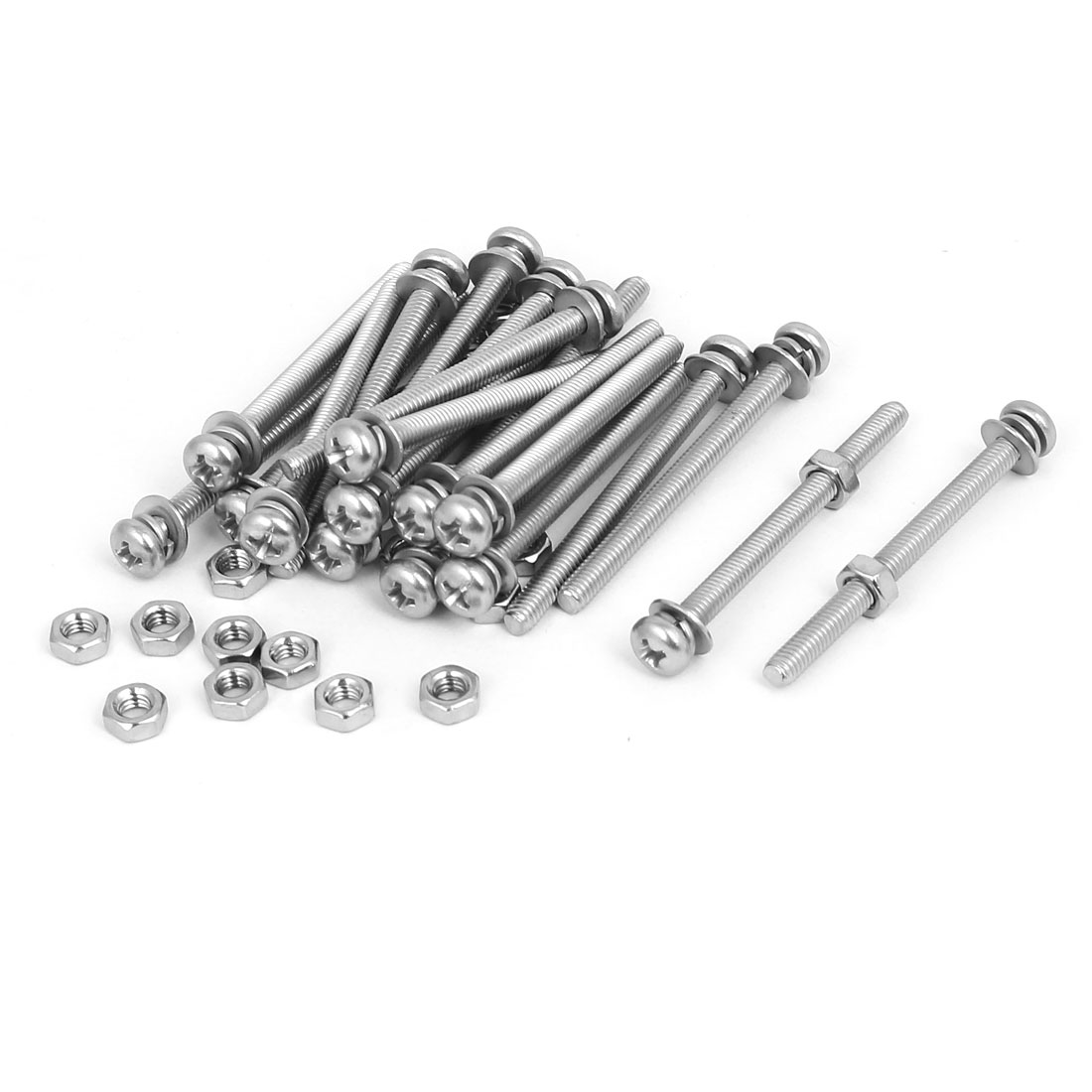 M4 x 50mm 304 Stainless Steel Phillips Pan Head Screws Nuts w Washers 20 Sets