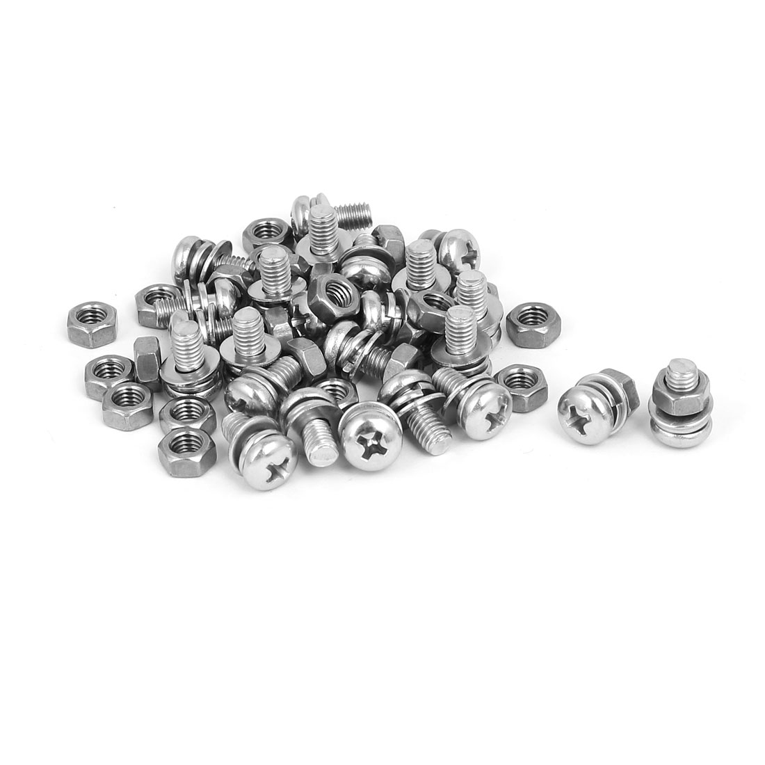 M5 x 10mm 304 Stainless Steel Phillips Pan Head Screws Nuts w Washers 25 Sets